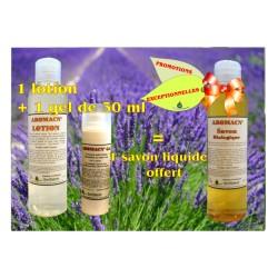 PACK Aromacné 3 pour 2: 1 gel Aromacné 30 ml + 1 lotion Aromacné 160 ml + 1 savon liquide Aromacné 160 ml offert