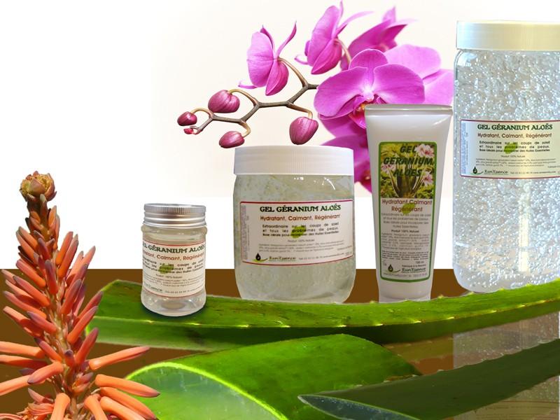Nos produits à base d'aloès et de géranium rosat