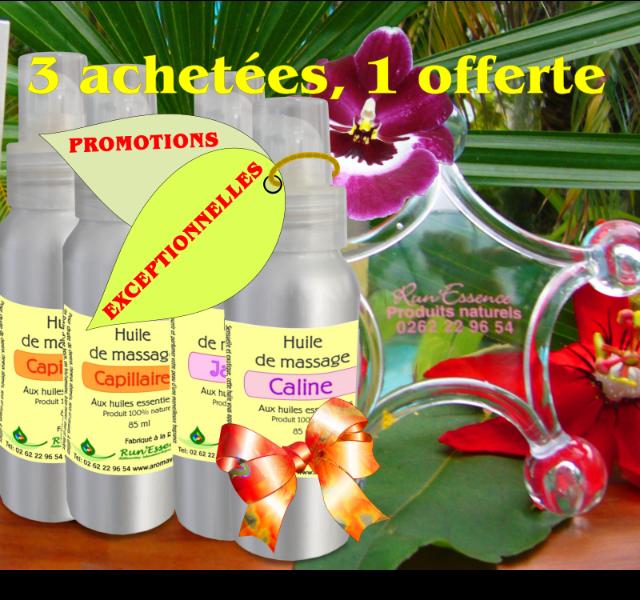 4 huiles de massage pour le prix de 3